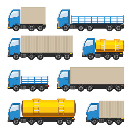 Flat set of trucks. Heavy and fuel trucks. Vector EPS10 illustration.