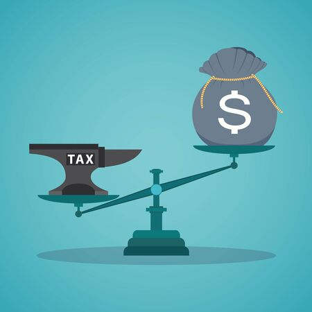 anvil: Business concept balancing with income and tax. Illustration