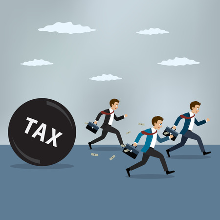 Businessmen run away from heavy tax. Business finance concept Illusztráció