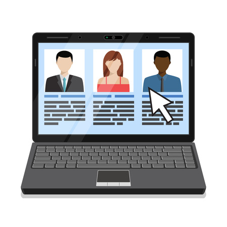 Laptop with candidates list. Flat design vector illustration.