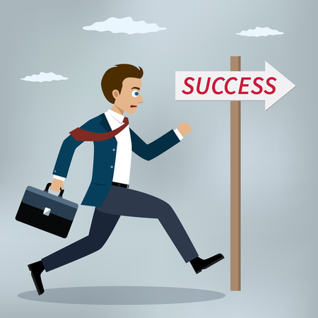 Success concept. Businessman running near success sign. Vector illustrator.