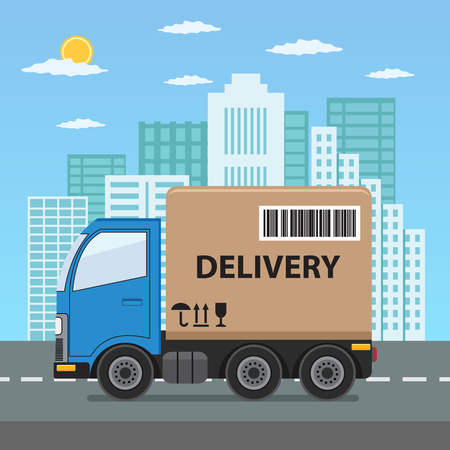 Delivery truck with cardboard box on city background. Product goods shipping transport. Fast service truck. Illusztráció