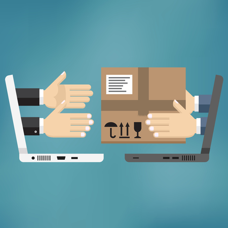 Concept for delivery service, online shopping, receiving package. Vector illustration. Hands of courier with parcel appeared from laptop and customers hands.