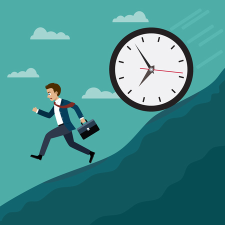 Businessmen run away from the big clock. Business concept, Flat style vector illustration. Illustration