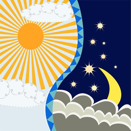 dia y noche: Luna y el sol  Vectores