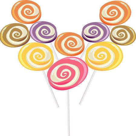 sucker: colourful lollipop, heart shape.