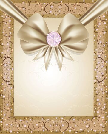 gold frame with diamonds and a bow  Vector