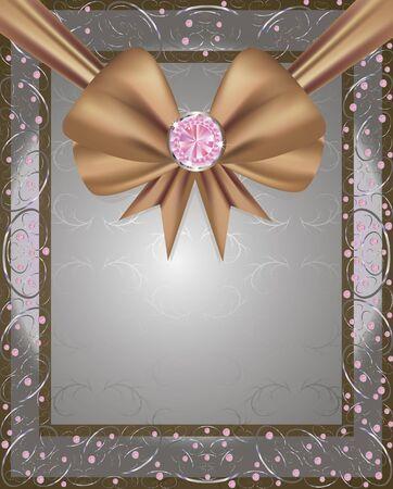 frame avec un ruban de brun et de diamants