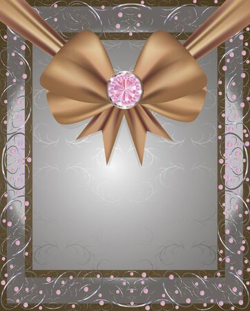 frame with a brown ribbon and diamonds