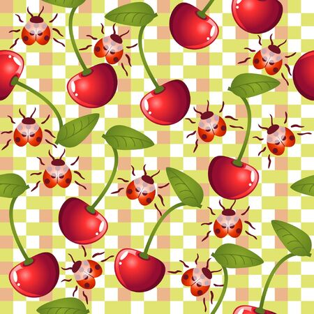 background with cherries and ladybirds Vector