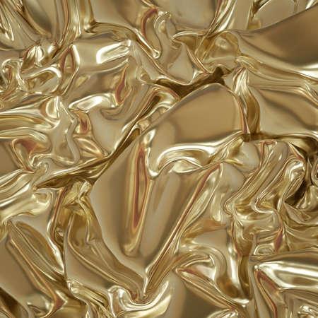 3d render, abstract gold textile background, shiny metallic fabric, crumpled golden foil, folded drapery, cloth. Premium fashion wallpaper Foto de archivo