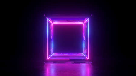 3d render, abstract neon background, square shape box, blank frame, pink glowing lines isolated on black, ultraviolet light Stock Photo