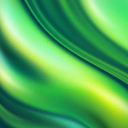 3d render, abstract fresh green silk wavy background, ripples, emerald green iridescent texture. Modern fashion textile, trendy design, silky fabric
