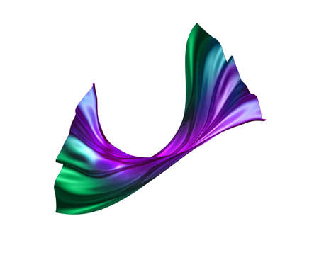 3d render, abstract drapery clip art isolated on white background, purple green fashion textile, levitating, flying. Silk cloth, design element