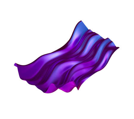 3d render, abstract violet drapery clip art isolated on white background, purple fashion textile waving, levitating, flying. Silk cloth, design element Stock fotó