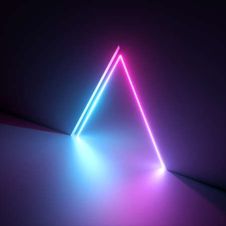 3d render, abstract geometric neon background, pink blue vivid light, ultraviolet triangular hole in the wall. Window, open door, gate, portal. Room entrance, arch. Modern minimal concept