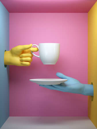 3d render, blue yellow hands holding white cup and saucer, isolated on pink background, female mannequin body parts inside box, minimal fashion background, helping hands concept Stock fotó
