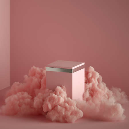 3d render abstract pink fantasy background, copy space. Empty podium surrounded by mystical smoke or fume, vacant cubic pedestal, blank box mockup isolated inside pink minimal room. Fashion concept