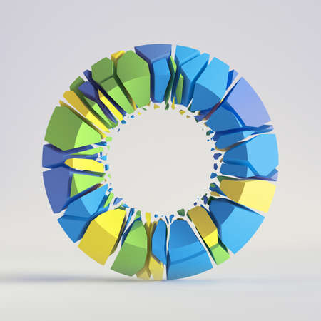 3d render, abstract random mosaic pieces, broken torus, cracked round surface with hole, colorful donut. Blue green yellow elements. Split geometric object isolated on white background. Minimal design