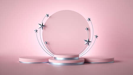 3d render. Abstract pink fashion background decorated with silver stars. blank board, round frame, copy space, cylinder steps, empty podium, vacant pedestal, stage. Award template Archivio Fotografico
