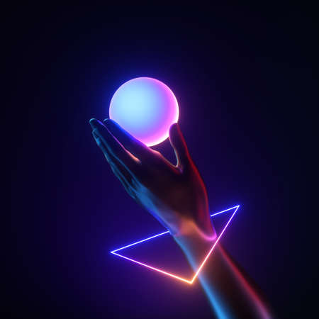 3d render black artificial hand wear geometric bracelet, hold white iridescent ball. Neon light triangle. Human mannequin body part isolated on black background. Modern minimal fashion concept