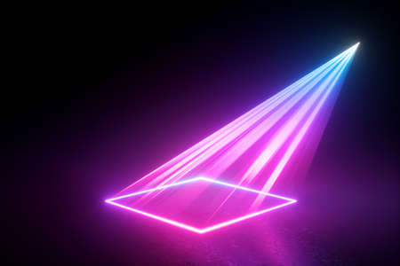 3d render, neon light abstract background, pink laser rays projecting square geometric shape on the stage floor.