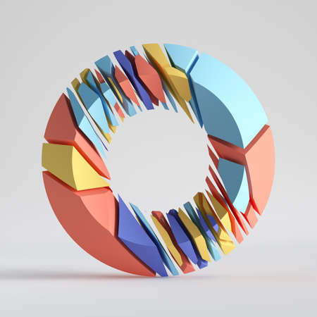 3d render, abstract random mosaic pieces, broken torus, cracked round surface with hole, colorful donut. Blue red yellow elements. Split geometric object isolated on white background