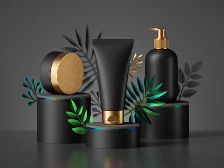 3d render, black cosmetic bottles with golden caps isolated on dark background. Collection of skin care products for men, blank package mockup premium design. Showcase with tropical palm leaves. 免版税图像