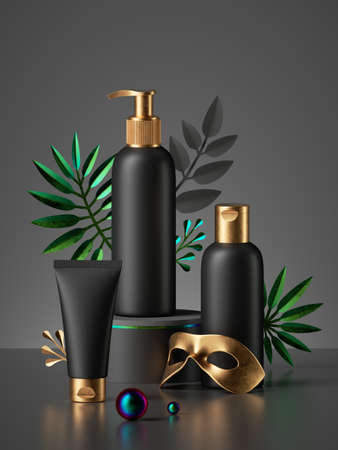 3d render, luxurious black cosmetic bottles with golden caps isolated on dark background, gold mask, tropical leaves. Collection of skin care products for men, blank package mockup premium design 免版税图像