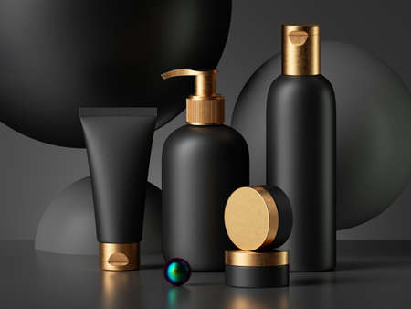 3d render, collection of black cosmetic bottles with gold caps isolated on dark background. Brutal design blank package mockup. Poster template. Commercial showcase. Dispenser, jar, tube, vial