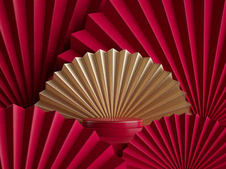 3d rendering, abstract red gold background with empty pedestal, fashion podium, round stage. Blank showcase template for product display decorated with folded paper fans