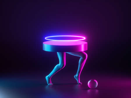 3d render abstract minimal fashion concept, surreal sculpture. Geometric shapes and black human model legs illuminated with pink blue neon light. Empty podium, table, product display, showcase