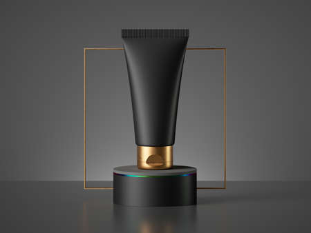 3d render. Black cosmetic bottle with golden cap on pedestal with golden square frame. Blank cream tube mockup. Minimal brutal premium showcase. Advertisement template of beauty product for men