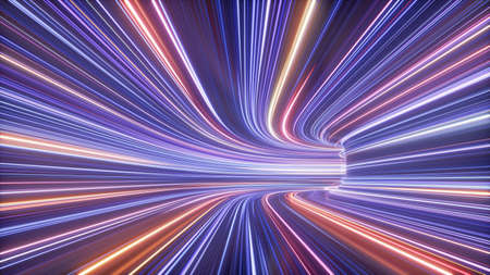 3d render of hyperspace tunnel turning to the right, abstract cosmic background, ultra violet neon rays, glowing lines, network data, speed of light, space and time strings, highway night lights