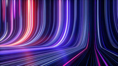 3d render, abstract cosmic background, ultra violet neon rays, glowing lines, cyber network, speed of light, space and time strings Stock Photo