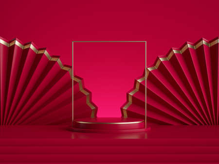 3d render, abstract red background with empty pedestal and golden square frame. Fashion podium, round stage and chinese folded fans, blank showcase template for product display