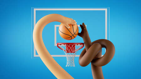 3d render. Basketball game players throw the ball into the basket, lay up. African and caucasian cartoon character hands. Sportive clip art isolated on blue background.