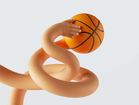 3d render, clumsy cartoon tangled hands hold ball, funny basketball player. Sport clip art Standard-Bild