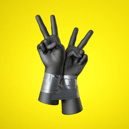 3d render, black human hands tied with tape, isolated on yellow background. Victory gesture. Rebellion and protest concept. Fight for human rights.