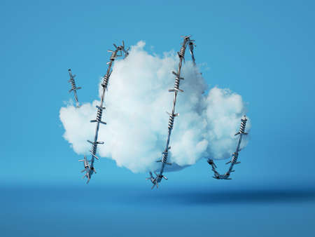 3d render, Abstract white fluffy cloud wrapped with spiral barbed wire, isolated on blue background. 免版税图像