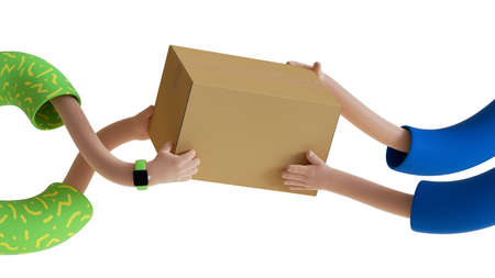 3d render, courier delivery service. Cartoon hands of two persons hold brown cardboard box, parcel, blank package mockup with copy space. Body parts isolated on white background