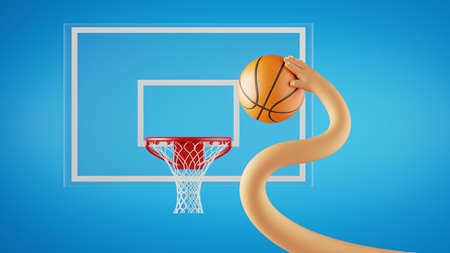 3d render, funny cartoon character plays basketball game, hand throws ball into the basket. Sportive clip art isolated on blue background.