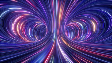 3d rendering, abstract cosmic background, ultra violet neon rays, glowing lines, cyber network, speed of light, space and time strings, bright twist Standard-Bild