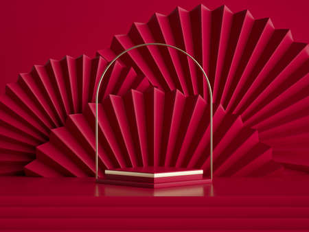 3d render, abstract red gold background with golden arch above the empty pedestal, fashion podium, square stage platform and folded fans, blank chinese style showcase template for product display