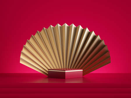 3d rendering, abstract red gold background with empty square podium, square box and golden folded fan, pedestal stage, blank showcase template for product display Stock fotó