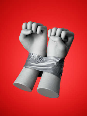 3d render, human hands tied with tape, isolated on red background. Fists of anger. Captured hostage. Constrained freedom. Fight for human rights. Stock Photo