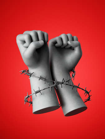 3d render, hands wrapped with barbwire, isolated on red background. Angry fists. Victory gesture political statement. Never give up. Stay optimistic. Social justice concept. Human rights violation