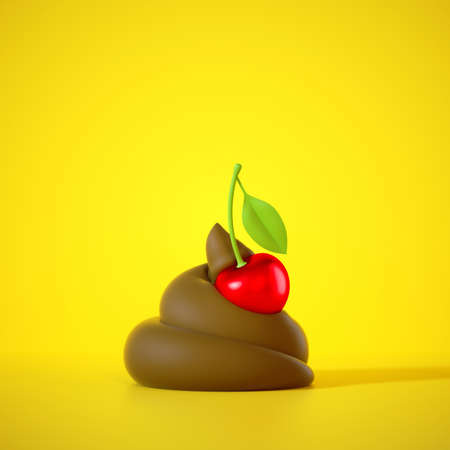 3d render, cartoon brown poop decorated with delicious cherry. Funny clip art isolated on yellow background. Epic fail icon