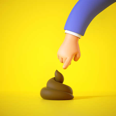 3d render, cartoon hand in blue sleeve is going to touch the brown poop, pointing finger. Funny clip art isolated on yellow background. Stupid behavior. Epic fail