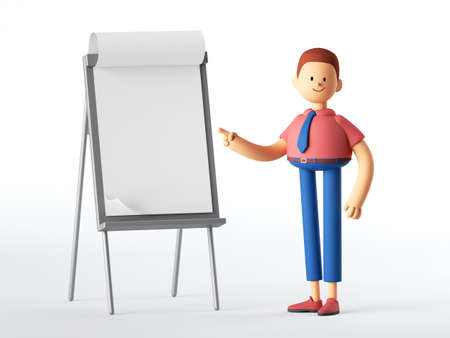 3d render. Teacher or professional manager cartoon character stands near the blank board. Education concept. Conference speaker clip art isolated on white background